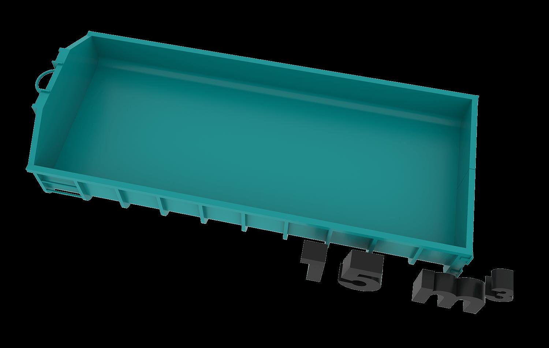 15m3 container bek & verburg voor: BSA, C-hout, groenafval, grofvuil, grond en houtafval