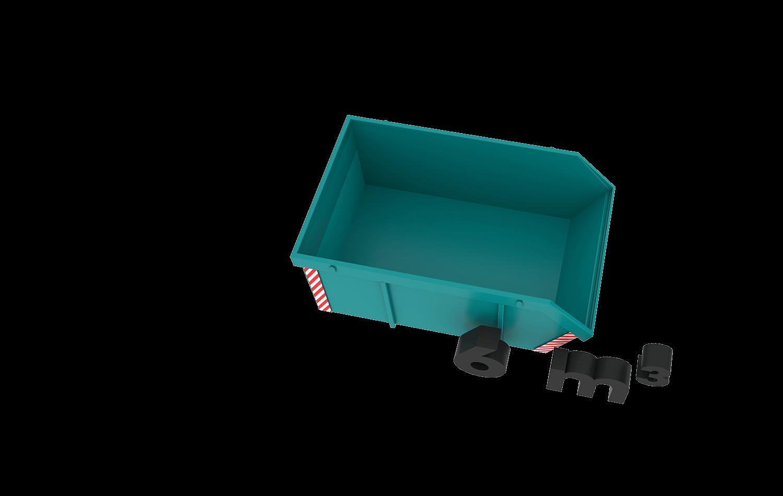 6m3 container bek & verburg voor: BSA, C-hout, dakafval, groenafval, grofvuil, grond, houtafval en puinafval